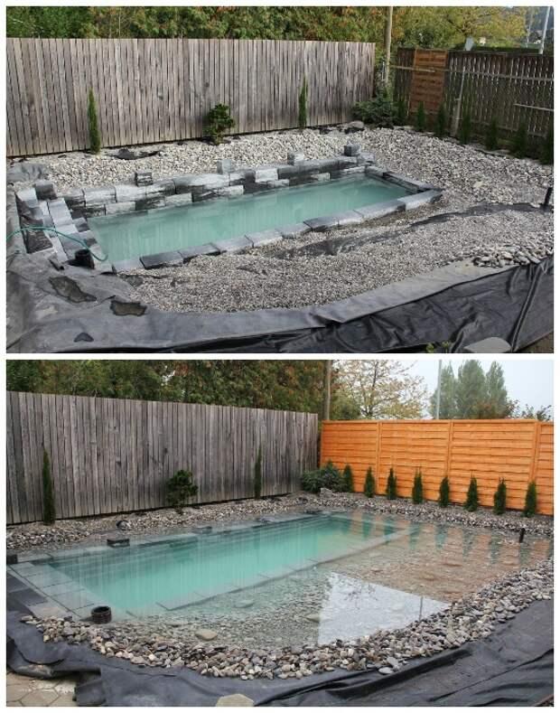 Cемья построила бассейн, который при наполнении превращается в настоящий пруд