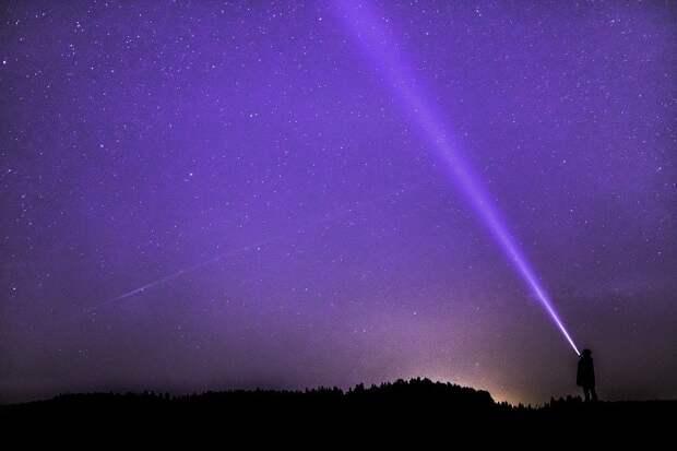 Ночь Фотография, Фонарик, Луч, Звездное Небо