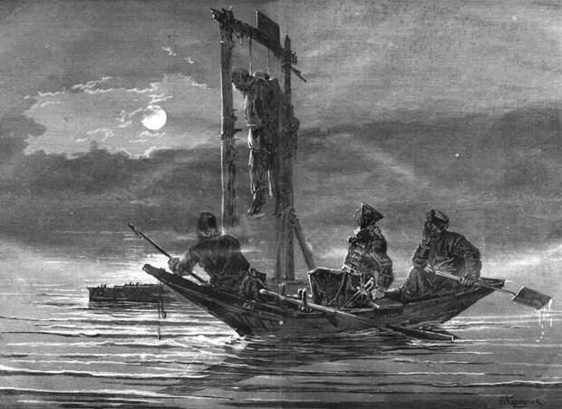 Виселицы на Волге во время Крестьянской войны.