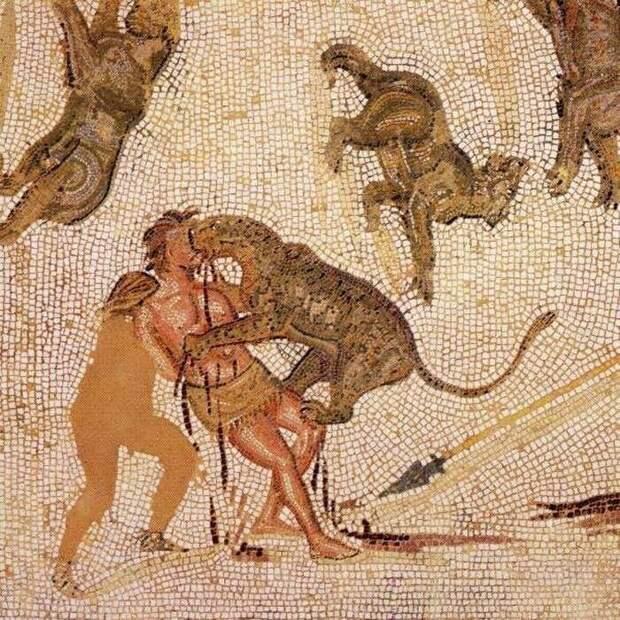 Травля дикими зверями на римской мозаике III в. н.э.