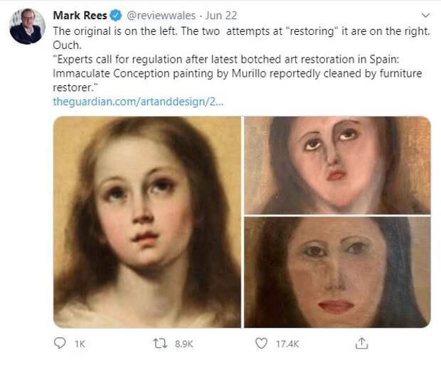 Испанец превратил старинную картину в «картофельную Мадонну»