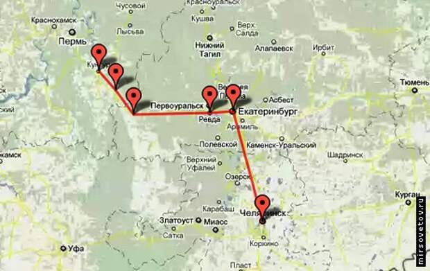 Карта маршрута Челябинск-Кунгур