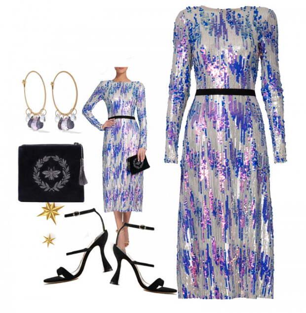 Нарядные вечерние платья для встречи новогодних праздников в модных сетах