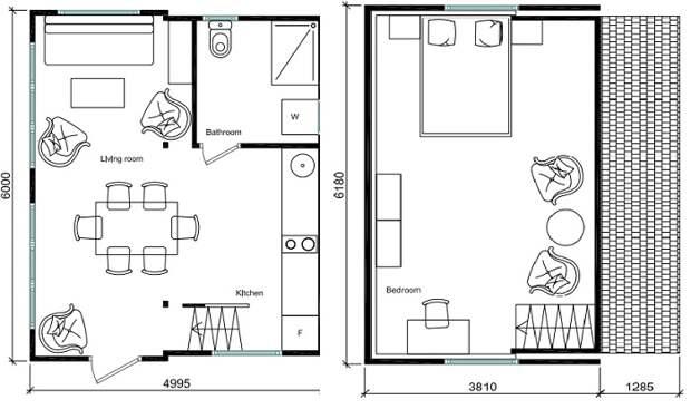 План-чертеж первого и второго уровней домика-трансформера, созданного компанией Brette Haus.