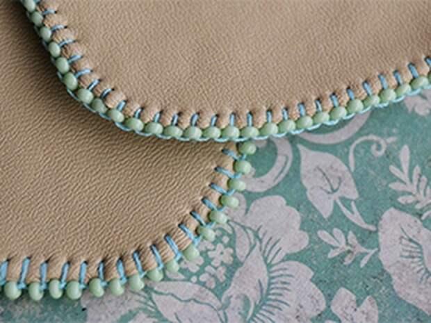 Красивая вышивка бисером края изделия 8
