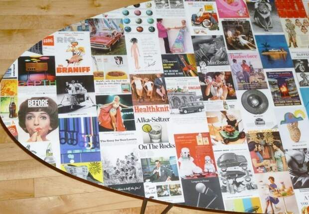 6. Если стол из журналов считаете непрактичным, то можно украсить столешницу вырезками из любимых номеров газеты, идеи, макулатура, на все руки мастер, поделки, своими руками