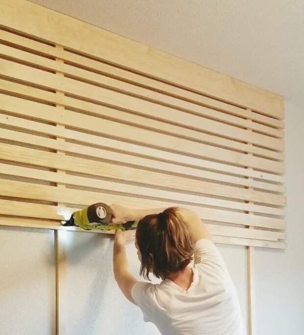Девушка реализовала бюджетную, но такую классную идею украшения стены за кроватью