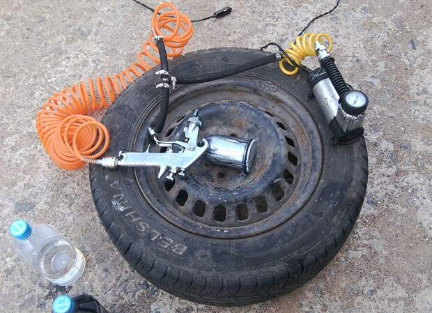 Ресивер для краскопульта из колеса