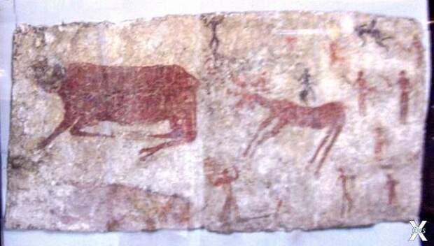 Фреска с изображениями быков, оленей ...