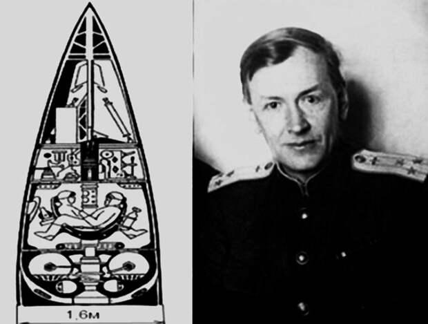 Герметичная кабина суборбитальной пилотируемой ракеты «ВР-190» («Победа») и автор этого проекта М.К. Тихонравов, сподвижник С.П. Королёва