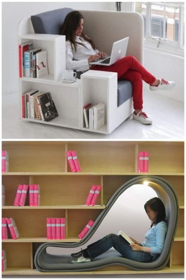 Идеальный способ организовать рабочее место и пристроить библиотеку. | Фото: homeli.ru.