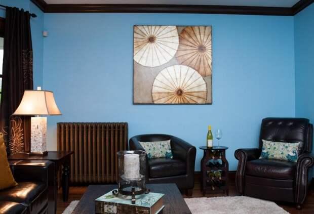 Цвет моря и неба в интерьере зала (97 фото)