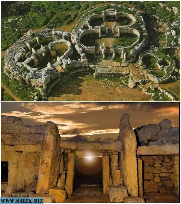 Два древнейших храма образуют святилище Джгантия (о. Гозо, Мальта).