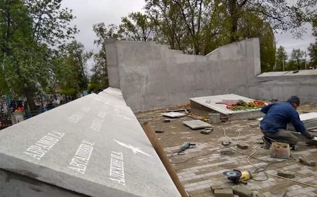 В Липецке не успели сдать мемориал на братской могиле к 9 мая