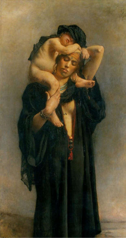 Леон Бонна (Leon Bonnat) (1833–1922)  Египетская крестьянка с ребенком (An Egyptian Peasant Woman and Her Child).