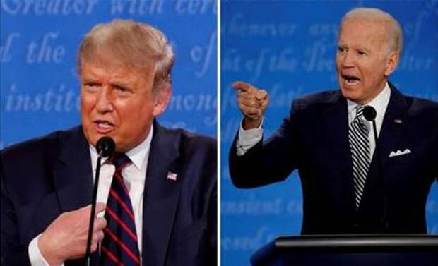 A combination picture shows U.S. President Donald Trump and Democratic presidential nominee Joe Biden speaking during the first 2020 presidential campaign debate, held on the campus of the Cleveland Clinic at Case Western Reserve University in Cleveland, Ohio, U.S., September 29, 2020. REUTERS/Brian Snyder/File Photo