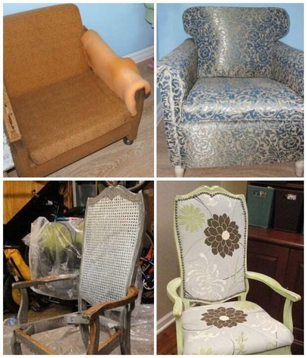 Обновление мягкой мебели с помощью перетяжки верхнего покрытия.