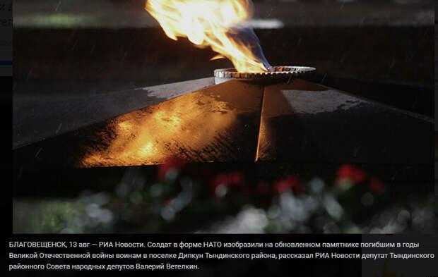 В Приамурье на памятнике погибшим в ВОВ изобразили солдат НАТО