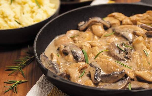 Аппетитное куриное филе с грибами