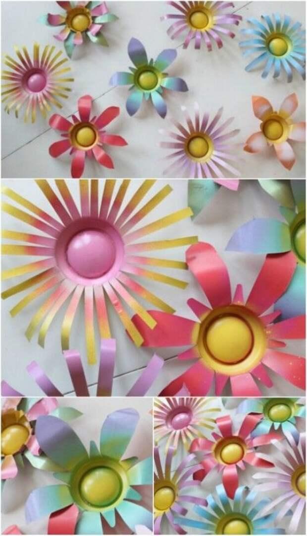 Простые цветы из пластиковых бутылок: 25 фото-идей