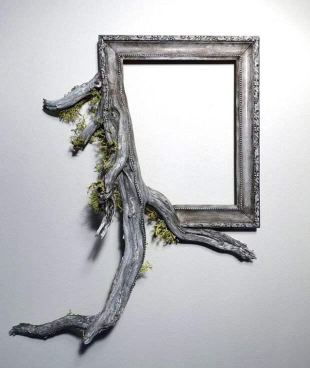 Художник дарит старым мёртвым ветвям вторую жизнь, превращая их в части рамок для картин