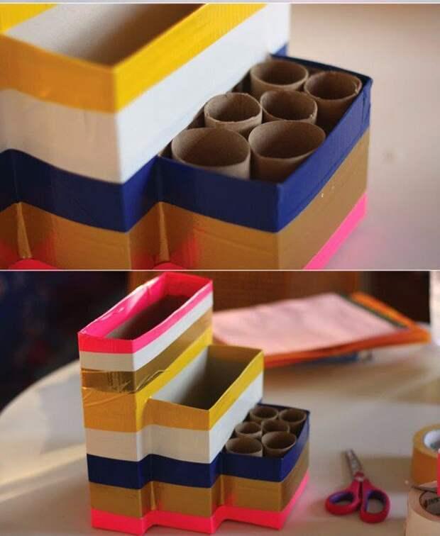Органайзер из картонных коробок и цветного скотча