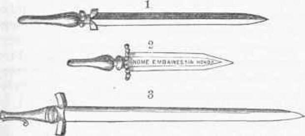 Первые байонеты. 1 - образец 1640 года; 2 - испанский байонет; 3 -французский.