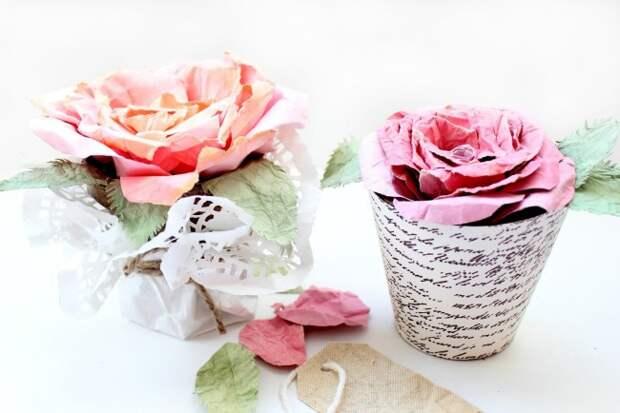 Нежные цветы ручной из простой бумаги