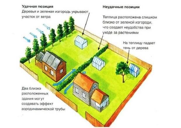Пример правильного выбора места для установки теплицы. | Фото: postroy-sam.com.