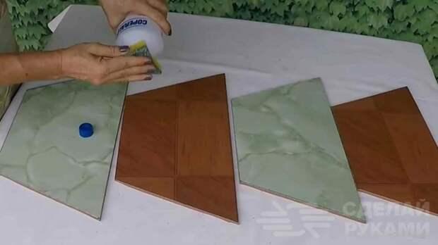 Цветочный горшок из цемента и керамической плитки