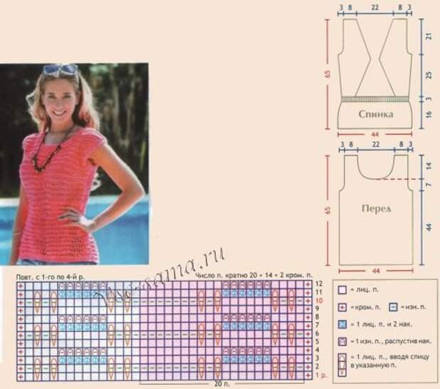 Схема и выкройка для вязания топа