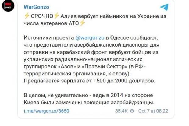 СМИ: Алиев вербует для войны вКарабахе украинских карателей
