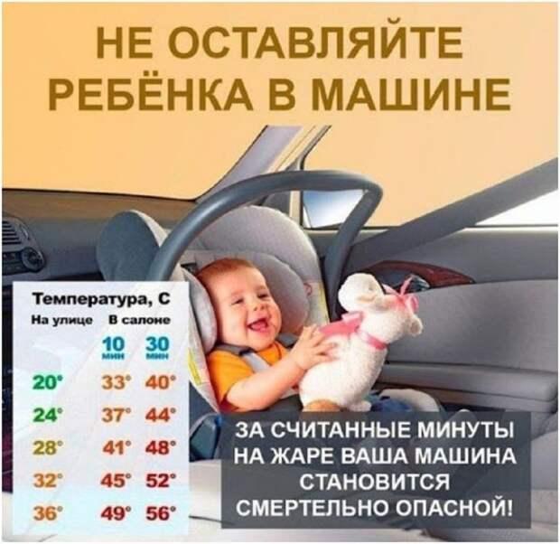 Горловчанам напоминают, что нельзя оставлять детей в машине в жаркую погоду