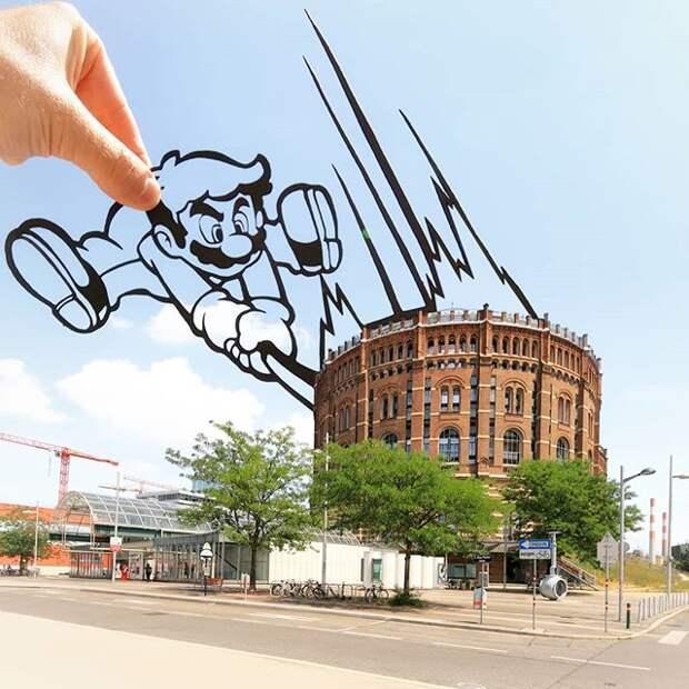 Креативный взгляд навещи: трафареты дополняют реальность