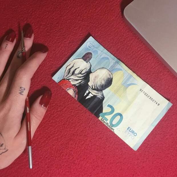 Искусство дороже денег: испанка рисует шикарные картины на купюрах в 50 евро