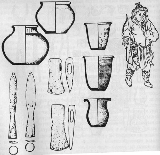 Чжурчжэни: керамика, железные топоры, наконечники, чжурчжэньский воин (по В. Медведеву)