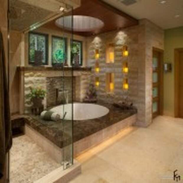 Необычные светильники в нишах в ванной