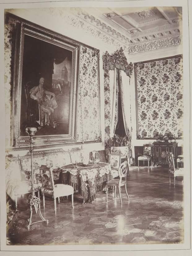 Строгановский дворец. Фрагмент интерьера гостиной с портретом А.С. Строганова