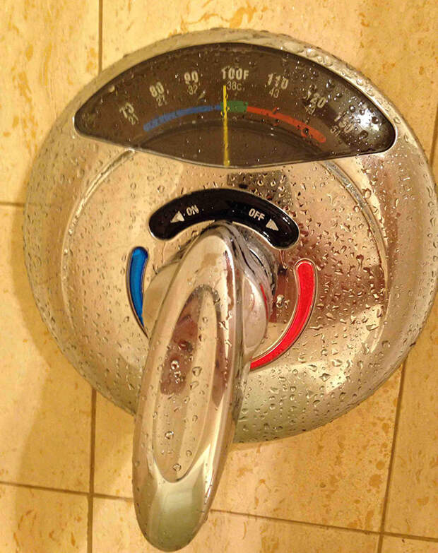 This Shower Has A Thermometer For The Water