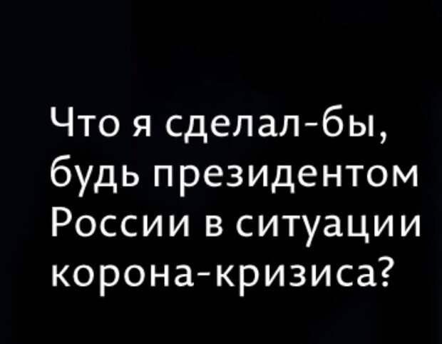 Что я сделал-бы, будь президентом России в ситуации корона-кризиса?