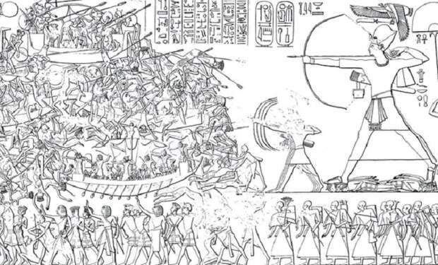 Сцена cо стены погребального храма Рамзеса III, показывающая египетскую кампанию против «народов моря», 1200–1150 годы до нашей эры / Фото: history.com