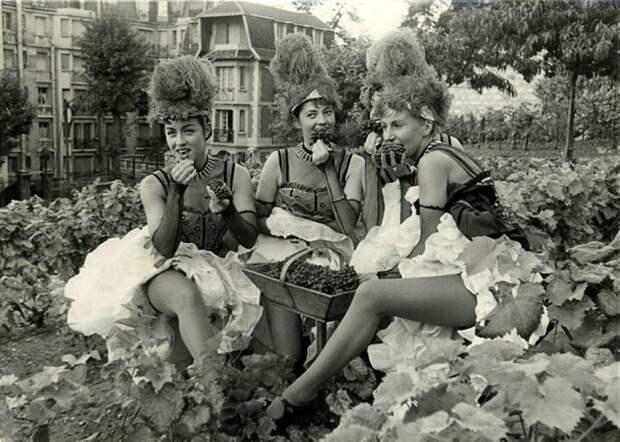Пора-порадуемся красавице и кубку: колоритные ретро-снимки танцовщиц из Мулен Ружа на фестивале вина