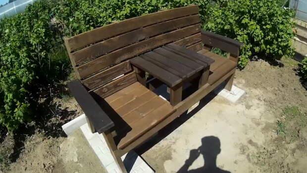 Садовая скамья со столиком в стиле Адирондак своими руками (3D-модель, видео)