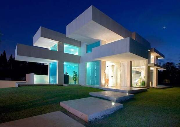 Футуристический дизайн фасада частного дома фото