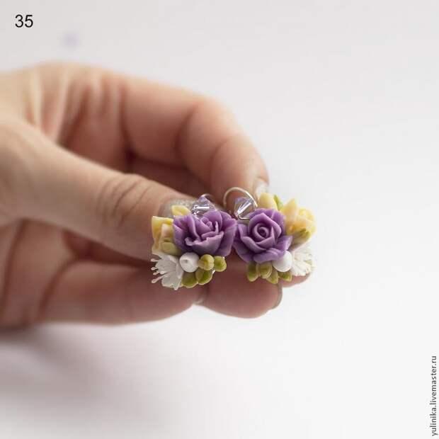 Мастер-класс: серьги с розами и фрезией из холодного фарфора