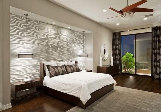 Декоративные панели в интерьере спальни.