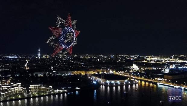 Праздничное шоу дронов в Петербурге
