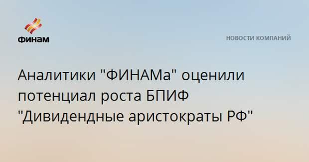 """Аналитики """"ФИНАМа"""" оценили потенциал роста БПИФ """"Дивидендные аристократы РФ"""""""