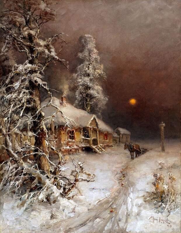 Картинки по запросу ю клевер зимний пейзаж с избушкой