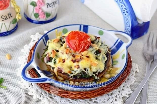 Фото фаршированных грибов с сыром в духовке